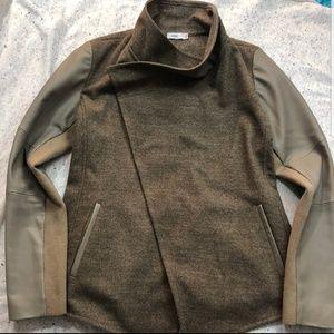 Vince leather sleeve jacket
